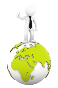 3d Businessman standing on earth globe: European and African side. Isolated on white