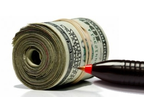 money with red pen